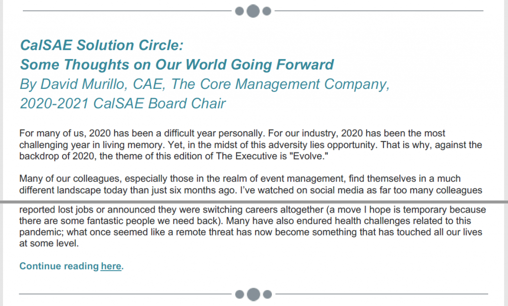 Articles from The Core Management Company Core Compass Winter News